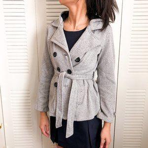 Sebby gray peacoat jacket button coat w/ waist tie